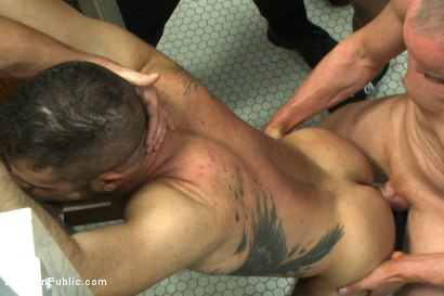 Photo number 10 from Pissed off janitor fucked in bondage by horny bathroom cruisers  shot for Bound in Public on Kink.com. Featuring Eli Hunter, Leo Forte, Marcus Isaacs and Big Red in hardcore BDSM & Fetish porn.