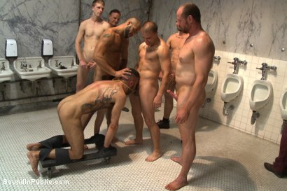 Photo number 1 from Horny cruisers cover a bathroom slut with cum and piss shot for Bound in Public on Kink.com. Featuring Eli Hunter, Leo Forte, Marcus Isaacs and Big Red in hardcore BDSM & Fetish porn.