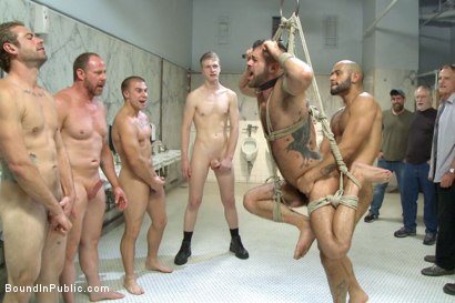 Photo number 13 from Horny cruisers cover a bathroom slut with cum and piss shot for Bound in Public on Kink.com. Featuring Eli Hunter, Leo Forte, Marcus Isaacs and Big Red in hardcore BDSM & Fetish porn.