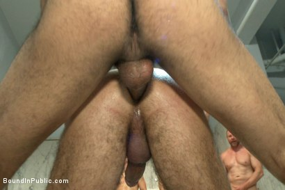 Photo number 5 from Horny cruisers cover a bathroom slut with cum and piss shot for Bound in Public on Kink.com. Featuring Eli Hunter, Leo Forte, Marcus Isaacs and Big Red in hardcore BDSM & Fetish porn.