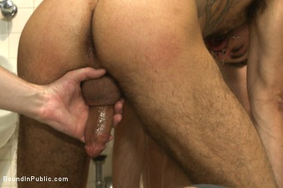 Photo number 3 from Horny cruisers cover a bathroom slut with cum and piss shot for Bound in Public on Kink.com. Featuring Eli Hunter, Leo Forte, Marcus Isaacs and Big Red in hardcore BDSM & Fetish porn.