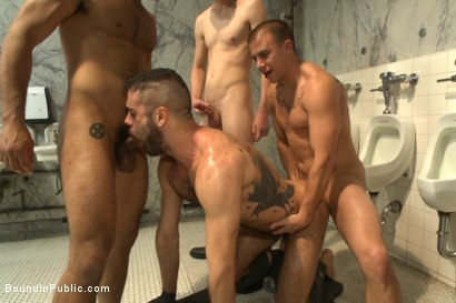 Photo number 4 from Horny cruisers cover a bathroom slut with cum and piss shot for Bound in Public on Kink.com. Featuring Eli Hunter, Leo Forte, Marcus Isaacs and Big Red in hardcore BDSM & Fetish porn.
