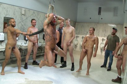 Photo number 11 from Horny cruisers cover a bathroom slut with cum and piss shot for Bound in Public on Kink.com. Featuring Eli Hunter, Leo Forte, Marcus Isaacs and Big Red in hardcore BDSM & Fetish porn.