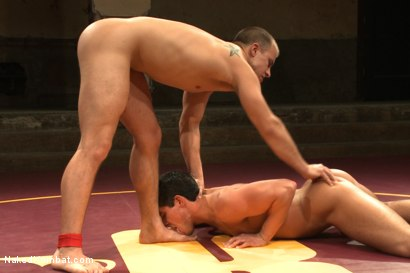 "Photo number 10 from Jett ""The Jackknife"" Jax vs Eli ""The Hammer"" Hunter shot for Naked Kombat on Kink.com. Featuring Eli Hunter and Jett Jax in hardcore BDSM & Fetish porn."