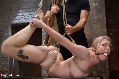 Photo number 6 from Suspended Anal Invasion for Newbie Blonde Squirting Slut shot for Hogtied on Kink.com. Featuring Ella Nova in hardcore BDSM & Fetish porn.