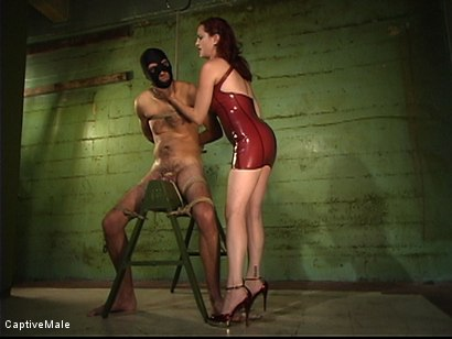 Photo number 4 from Dick On A Sawhorse shot for Captive Male on Kink.com. Featuring Mz Berlin and Lefty in hardcore BDSM & Fetish porn.