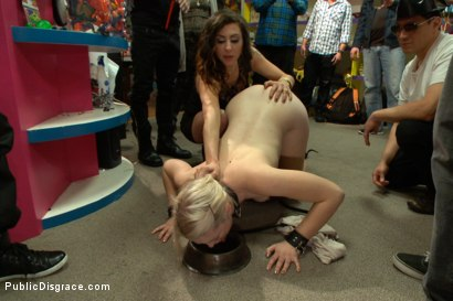 Photo number 3 from Squirting Blond Fuck Puppy is Eager to Please from her Hands and Knees shot for Public Disgrace on Kink.com. Featuring Ella Nova  and Astral Dust in hardcore BDSM & Fetish porn.