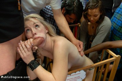 Photo number 10 from Squirting Blond Fuck Puppy is Eager to Please from her Hands and Knees shot for Public Disgrace on Kink.com. Featuring Ella Nova  and Astral Dust in hardcore BDSM & Fetish porn.