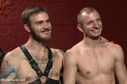 Photo number 15 from Sir, may I cum today? shot for Bound Gods on Kink.com. Featuring Christian Wilde and Randall O'Reilly in hardcore BDSM & Fetish porn.