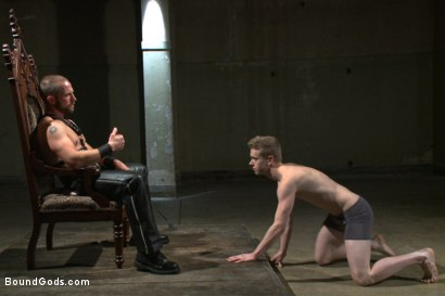 Photo number 1 from Mr Herst torments and fucks slave #860 locked in chastity  shot for Bound Gods on Kink.com. Featuring Adam Herst and Liam Harkmoore in hardcore BDSM & Fetish porn.