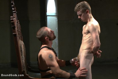 Photo number 3 from Mr Herst torments and fucks slave #860 locked in chastity  shot for Bound Gods on Kink.com. Featuring Adam Herst and Liam Harkmoore in hardcore BDSM & Fetish porn.