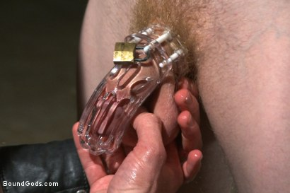 Photo number 4 from Mr Herst torments and fucks slave #860 locked in chastity  shot for Bound Gods on Kink.com. Featuring Adam Herst and Liam Harkmoore in hardcore BDSM & Fetish porn.