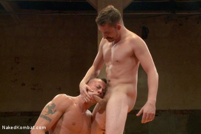 """Photo number 12 from Dayton """"The D.O.C."""" O'Connor VS Sean """"Dynamite"""" Duran  shot for Naked Kombat on Kink.com. Featuring Sean Duran and Dayton O'Connor in hardcore BDSM & Fetish porn."""