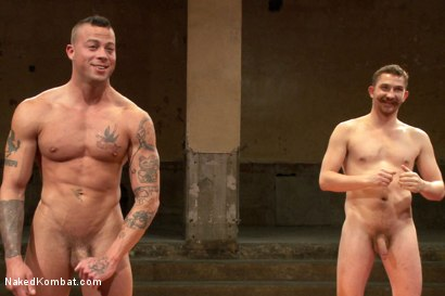 "Photo number 15 from Dayton ""The D.O.C."" O'Connor VS Sean ""Dynamite"" Duran  shot for Naked Kombat on Kink.com. Featuring Sean Duran and Dayton O'Connor in hardcore BDSM & Fetish porn."