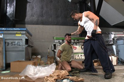 Photo number 3 from A helpless vagrant gets hosed down and fucked by the creepy handyman shot for Bound Gods on Kink.com. Featuring Trenton Ducati and Rich Kelly in hardcore BDSM & Fetish porn.