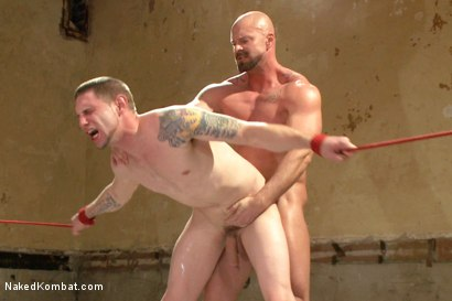 """Photo number 14 from Jay """"Slick-Dick"""" Rising vs Mitch """"The Machine"""" Vaughn  shot for Naked Kombat on Kink.com. Featuring Jay Rising and Mitch Vaughn in hardcore BDSM & Fetish porn."""