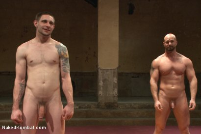 """Photo number 15 from Jay """"Slick-Dick"""" Rising vs Mitch """"The Machine"""" Vaughn  shot for Naked Kombat on Kink.com. Featuring Jay Rising and Mitch Vaughn in hardcore BDSM & Fetish porn."""