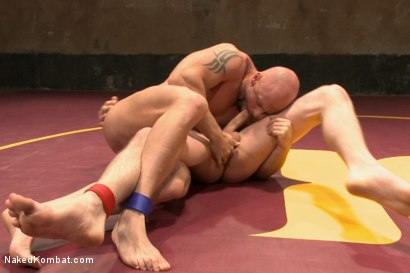 """Photo number 8 from Jay """"Slick-Dick"""" Rising vs Mitch """"The Machine"""" Vaughn  shot for Naked Kombat on Kink.com. Featuring Jay Rising and Mitch Vaughn in hardcore BDSM & Fetish porn."""