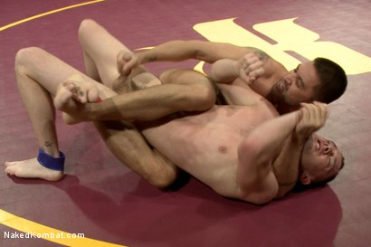 """Photo number 6 from Dominic """"The Dominator"""" Pacifico vs Kirk """"Kick-Ass"""" Cummings shot for nakedkombat on Kink.com. Featuring Kirk Cummings and Dominic Pacifico in hardcore BDSM & Fetish porn."""
