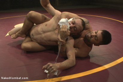 """Photo number 3 from Dominic """"The Dominator"""" Pacifico vs Kirk """"Kick-Ass"""" Cummings shot for nakedkombat on Kink.com. Featuring Kirk Cummings and Dominic Pacifico in hardcore BDSM & Fetish porn."""