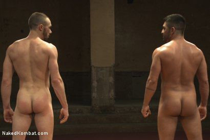 """Photo number 15 from Dominic """"The Dominator"""" Pacifico vs Kirk """"Kick-Ass"""" Cummings shot for nakedkombat on Kink.com. Featuring Kirk Cummings and Dominic Pacifico in hardcore BDSM & Fetish porn."""