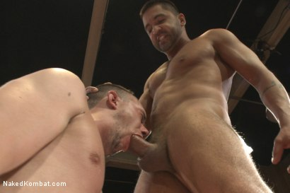 """Photo number 10 from Dominic """"The Dominator"""" Pacifico vs Kirk """"Kick-Ass"""" Cummings shot for nakedkombat on Kink.com. Featuring Kirk Cummings and Dominic Pacifico in hardcore BDSM & Fetish porn."""