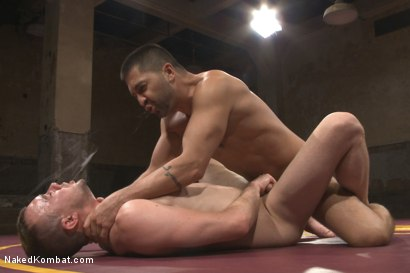 "Photo number 12 from Dominic ""The Dominator"" Pacifico vs Kirk ""Kick-Ass"" Cummings shot for Naked Kombat on Kink.com. Featuring Kirk Cummings and Dominic Pacifico in hardcore BDSM & Fetish porn."