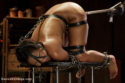 Photo number 7 from Ebony Slut is Tormented and Machine Fucked!! shot for Device Bondage on Kink.com. Featuring Chanell Heart in hardcore BDSM & Fetish porn.