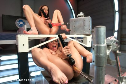 Photo number 6 from This Porn Needs: Goggles, bucket of lube, a tarp & a day off from work shot for Fucking Machines on Kink.com. Featuring Kristina Rose and Gia DiMarco in hardcore BDSM & Fetish porn.