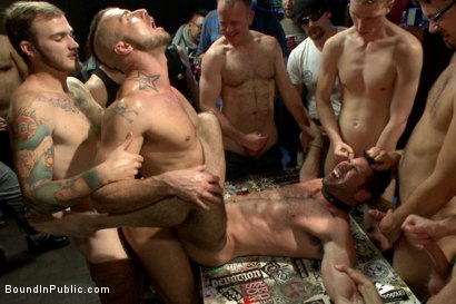 Photo number 13 from FUCK THE DJ!!! shot for Bound in Public on Kink.com. Featuring Billy Santoro, Christian Wilde and Jessie Colter in hardcore BDSM & Fetish porn.