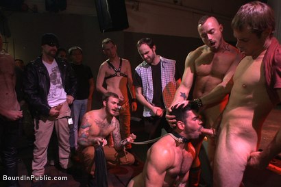 Photo number 4 from FUCK THE DJ!!! shot for Bound in Public on Kink.com. Featuring Billy Santoro, Christian Wilde and Jessie Colter in hardcore BDSM & Fetish porn.