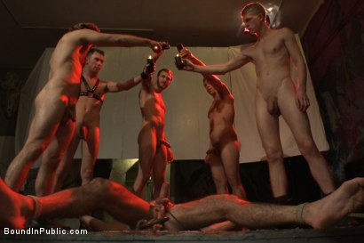 Photo number 12 from Muscled DJ tied to the toilet & ass fucked in front of a horny crowd shot for Bound in Public on Kink.com. Featuring Billy Santoro, Christian Wilde and Jessie Colter in hardcore BDSM & Fetish porn.