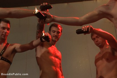 Photo number 13 from Muscled DJ tied to the toilet & ass fucked in front of a horny crowd shot for Bound in Public on Kink.com. Featuring Billy Santoro, Christian Wilde and Jessie Colter in hardcore BDSM & Fetish porn.