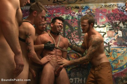 Photo number 2 from Muscled DJ tied to the toilet & ass fucked in front of a horny crowd shot for Bound in Public on Kink.com. Featuring Billy Santoro, Christian Wilde and Jessie Colter in hardcore BDSM & Fetish porn.
