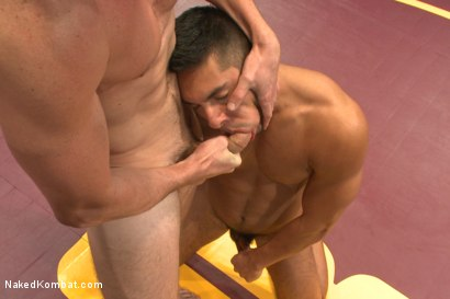 "Photo number 9 from Kip ""The Giant"" Johnson vs Seth ""The Tsunami"" Santoro  shot for Naked Kombat on Kink.com. Featuring Seth Santoro and Kip Johnson in hardcore BDSM & Fetish porn."