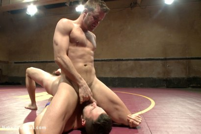 """Photo number 3 from Isaac """"Hardcore"""" Hardy vs Connor """"The Pulverizer"""" Patricks  shot for nakedkombat on Kink.com. Featuring Isaac Hardy and Connor Patricks in hardcore BDSM & Fetish porn."""