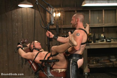 Photo number 13 from Helpless stud's torturous ordeal at the hands of a twisted pervert  shot for Bound Gods on Kink.com. Featuring Adam Herst and Eli Hunter in hardcore BDSM & Fetish porn.