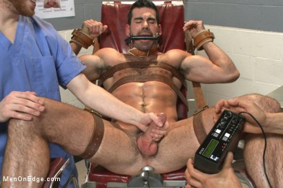 Photo number 12 from Muscled stud strapped down & has his cock milked at the sperm bank shot for Men On Edge on Kink.com. Featuring Billy Santoro in hardcore BDSM & Fetish porn.