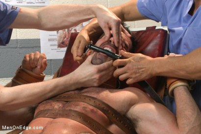 Photo number 9 from Muscled stud strapped down & has his cock milked at the sperm bank shot for Men On Edge on Kink.com. Featuring Billy Santoro in hardcore BDSM & Fetish porn.