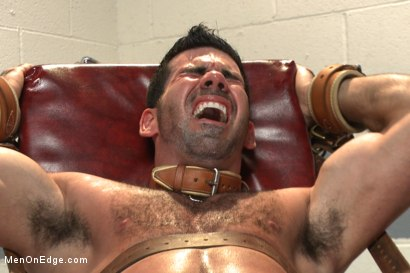 Photo number 13 from Muscled stud strapped down & has his cock milked at the sperm bank shot for Men On Edge on Kink.com. Featuring Billy Santoro in hardcore BDSM & Fetish porn.