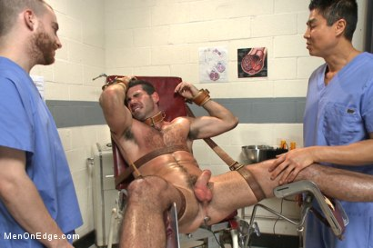 Photo number 14 from Muscled stud strapped down & has his cock milked at the sperm bank shot for Men On Edge on Kink.com. Featuring Billy Santoro in hardcore BDSM & Fetish porn.