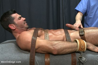 Photo number 4 from Muscled stud strapped down & has his cock milked at the sperm bank shot for Men On Edge on Kink.com. Featuring Billy Santoro in hardcore BDSM & Fetish porn.