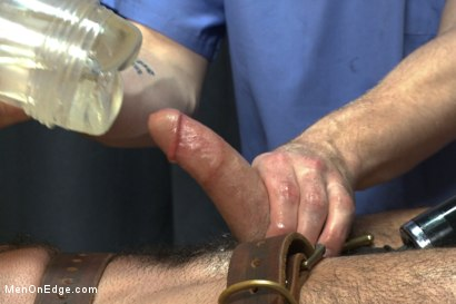 Photo number 5 from Muscled stud strapped down & has his cock milked at the sperm bank shot for Men On Edge on Kink.com. Featuring Billy Santoro in hardcore BDSM & Fetish porn.