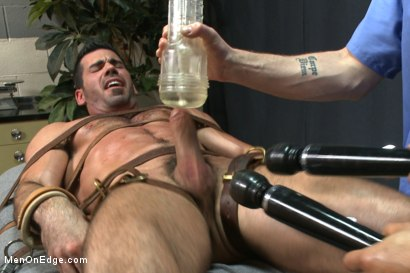 Photo number 6 from Muscled stud strapped down & has his cock milked at the sperm bank shot for Men On Edge on Kink.com. Featuring Billy Santoro in hardcore BDSM & Fetish porn.