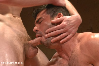 "Photo number 10 from Billy ""Bodyslam"" Santoro vs Jimmy ""The Bulldozer"" Bullet - OIL MATCH! shot for Naked Kombat on Kink.com. Featuring Billy Santoro and Jimmy Bullet in hardcore BDSM & Fetish porn."