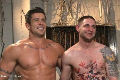 Photo number 15 from The Creepy Handyman vs His New Replacement  shot for Bound Gods on Kink.com. Featuring Trenton Ducati and Jay Rising in hardcore BDSM & Fetish porn.