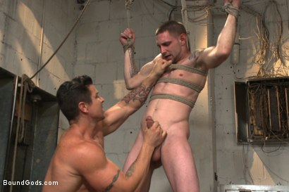 Photo number 5 from The Creepy Handyman vs His New Replacement  shot for Bound Gods on Kink.com. Featuring Trenton Ducati and Jay Rising in hardcore BDSM & Fetish porn.