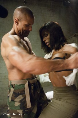 "Photo number 2 from TS Natassia Dream & Robert Axel in The Prelude to ""Super Soldier"" shot for TS Seduction on Kink.com. Featuring Natassia Dreams and Robert Axel in hardcore BDSM & Fetish porn."