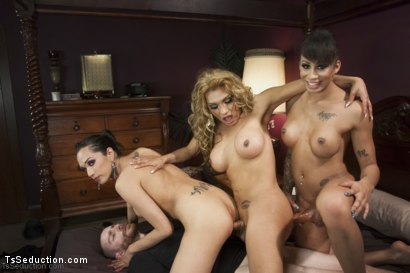 Photo number 6 from The First EVER TS GANG BANG on TsSeduction.com - The Gangster Gangbang shot for TS Seduction on Kink.com. Featuring Jessy Dubai , Jessica Fox, Jimmy Bullet, Honey FoXXX and Sebastian Keys in hardcore BDSM & Fetish porn.