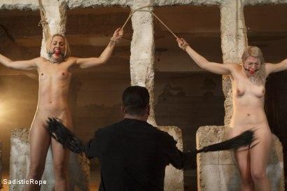 Photo number 2 from 2 Helpless Blonde Whores in Brutal Bondage! shot for Sadistic Rope on Kink.com. Featuring Ella Nova  and Dylan Ryan in hardcore BDSM & Fetish porn.